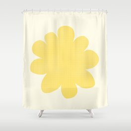 Yellow Flower on Pale Yellow Shower Curtain