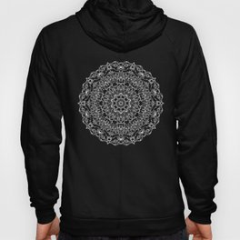 Mandala Project 212 | White Bohemian Lace on Black Hoody