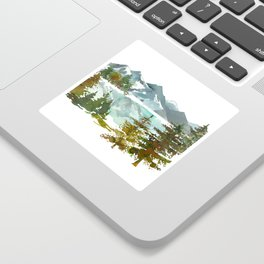 Forest green teal blue watercolor hand painted landscape Sticker
