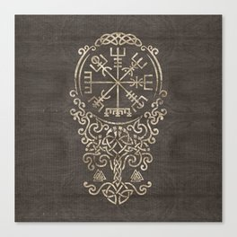 Vegvisir and Tree of life  - Yggdrasil Canvas Print