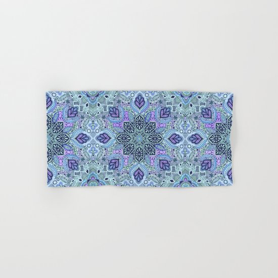 Navy Blue, Mint and Purple Boho Pattern  Hand & Bath Towel