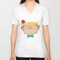 fez V-neck T-shirts featuring FEZ by Anthony Garzzona