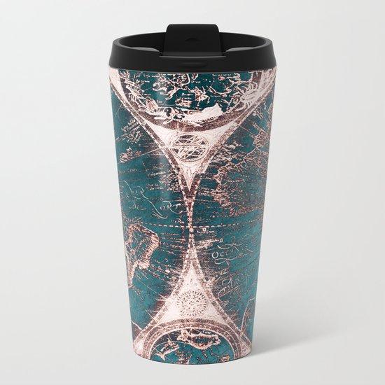 Antique World Map Pink Quartz Teal Blue by Nature Magick Metal Travel Mug