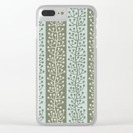 Mid Century Modern Berry Vine Sage and Mint Green Clear iPhone Case