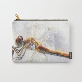 Platinum White Dragonfly Watercolor Carry-All Pouch