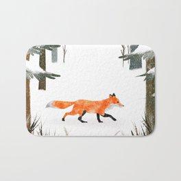 Fox In A Late Winter Snowfall Bath Mat