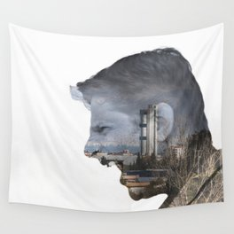 Angry shouting man face on cityscape Wall Tapestry