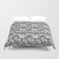 malachite Duvet Covers featuring Malachite black and white by ravynka