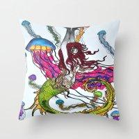 siren Throw Pillows featuring Siren by Labartwurx