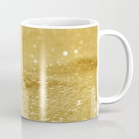gold glitter Mugs featuring Glitter Gold by Alice Gosling