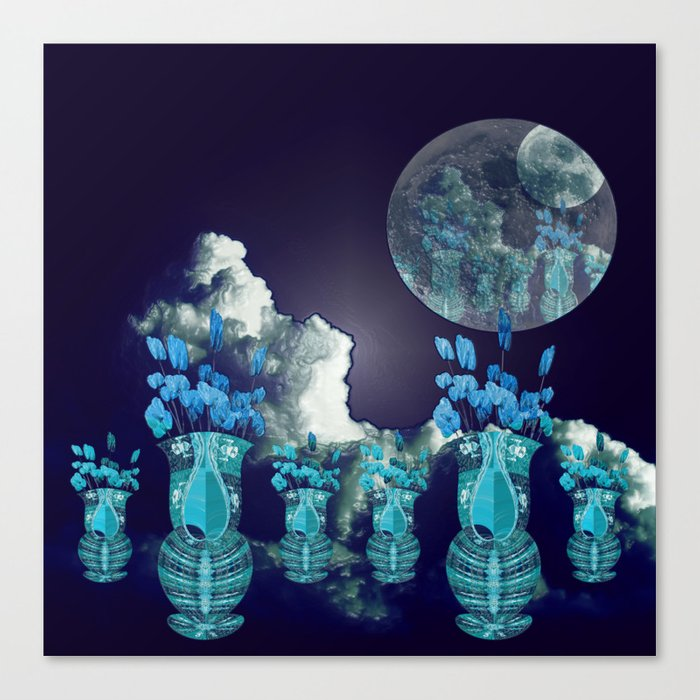 Moon with Clouds and Flowers Still Life Landscape Canvas Print