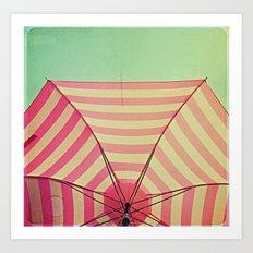 Pink Umbrella Aqua Sky Art Print