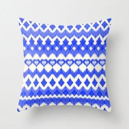 Ikat Pattern in Cobalt Blue & White Throw Pillow