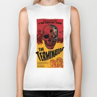 terminator Biker Tanks featuring The Terminator by Vaughany