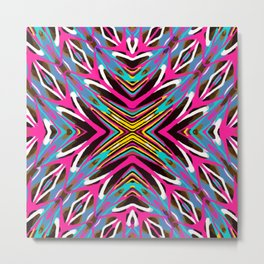 psychedelic geometric graffiti abstract pattern in pink blue yellow brown Metal Print