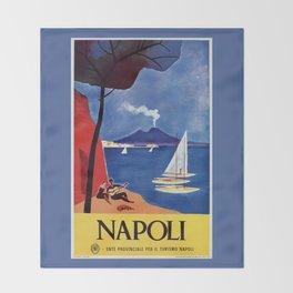 Napels Italy retro vintage travel ad Throw Blanket