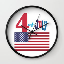 4th of July Happy Independence Day Patriotic American flag & stars Wall Clock
