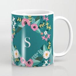 Dark Green Floral Monogram S Coffee Mug