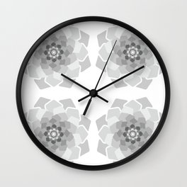 Abstract geometric flower light grey colours Wall Clock