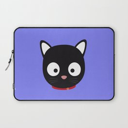Cute black cat with red collar Laptop Sleeve