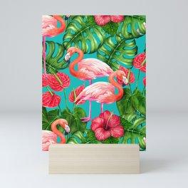 Flamingo birds and tropical garden          watercolor Mini Art Print