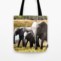 elephants Tote Bags featuring Elephants by Regan's World