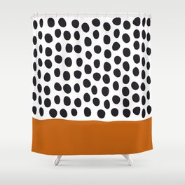 Classy Handpainted Polka Dots with Autumn Maple Shower Curtain