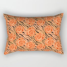 Orange roses on tiger background . Rectangular Pillow