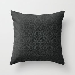 Luxury Black Damask Throw Pillow