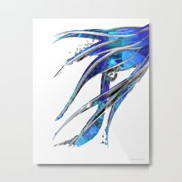 Abstract Blue And White Art - Flowing 5 - Sharon Cummings Metal Print