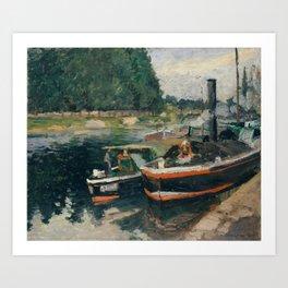 Camille Pissarro - Barges at Pontoise (1876) Art Print