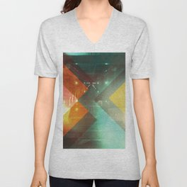 Seventies Orange Abstract Techno Triangles Unisex V-Neck