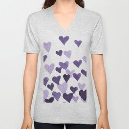 Valentine's Day Watercolor Hearts - ultraviolet Unisex V-Neck