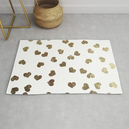 Glamorous Faux Gold Hearts Pattern Rug
