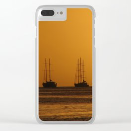 Sunset with boat Silhouette Clear iPhone Case