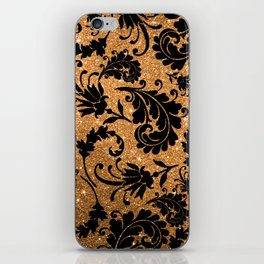 Vintage black faux gold glitter floral damask pattern iPhone Skin