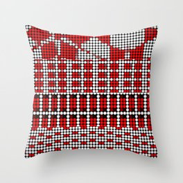 Pixel mosaic,red Throw Pillow