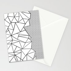 Abstraction Outline Grid on Side White Stationery Cards