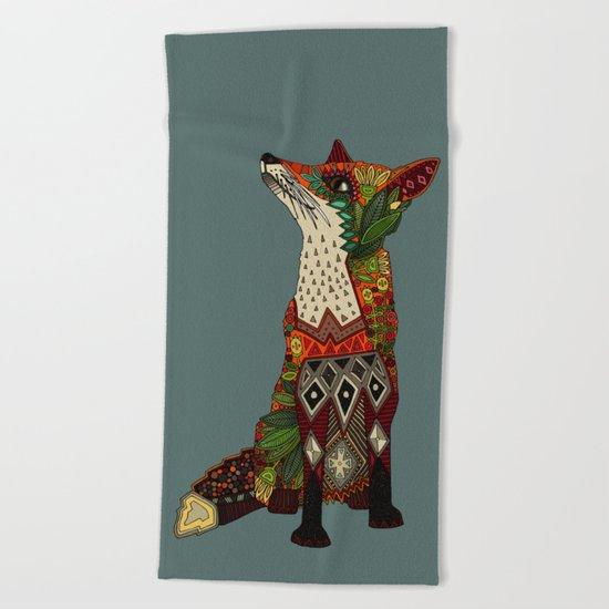 fox love juniper Beach Towel