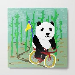 Panda on a Bike Metal Print