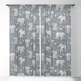 Baby Elephants and Egrets in Watercolor - navy blue Sheer Curtain