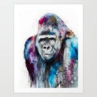 gorilla Art Prints featuring Gorilla by Slaveika Aladjova