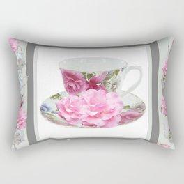 ABSTRACTEd PINK ROSE TEA TIME PORCELAIN ART Rectangular Pillow
