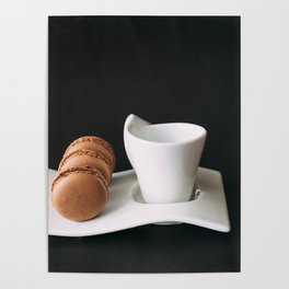 Set of cup of coffee and macaroons against black background Poster