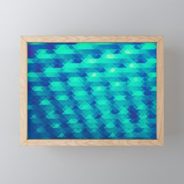 Modern Fashion Abstract Color Pattern in Blue / Green Framed Mini Art Print
