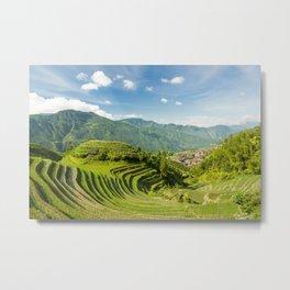 Rice terraces landscape Longsheng Guilin China Metal Print