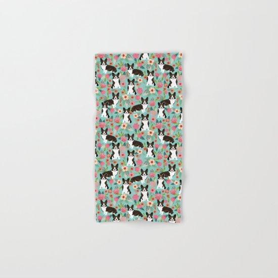 Brindle Cardigan Corgi Florals - cute corgi design, corgi owners will love this mint florals corgi  Hand & Bath Towel