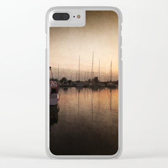 Landing stage - Sundown Harbour Boat at Sea #Society6 Clear iPhone Case