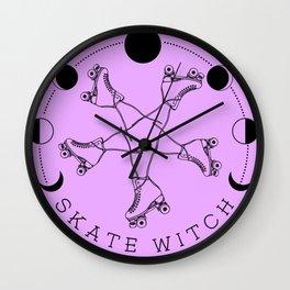 Skate Witch - Roller skate illustration Wall Clock