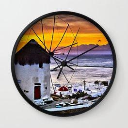 Sunset at Mykonos Windmills Wall Clock